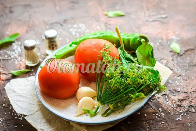 помидоры, зелень, чеснок