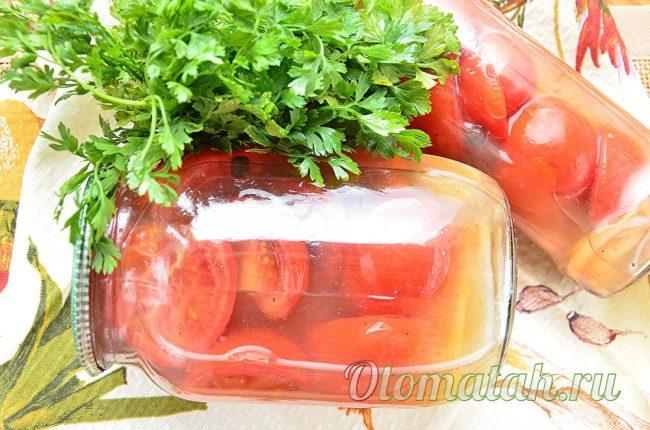 Сладкие помидоры половинками