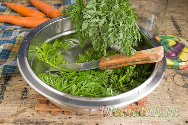 чистая морковная ботва