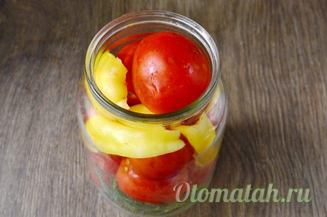 укладка помидор и перца