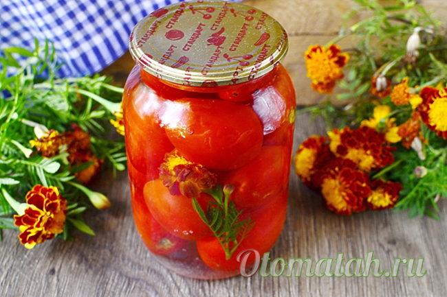 баночка помидор с цветами