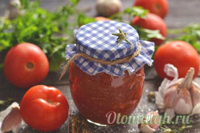 готовые протертые помидоры с чесноком