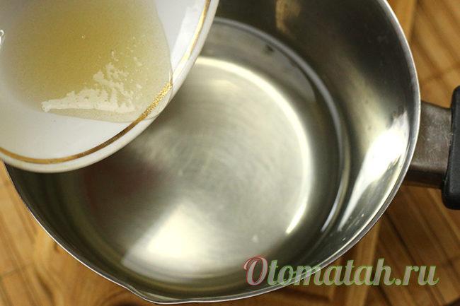 вливаем желатин в марниад