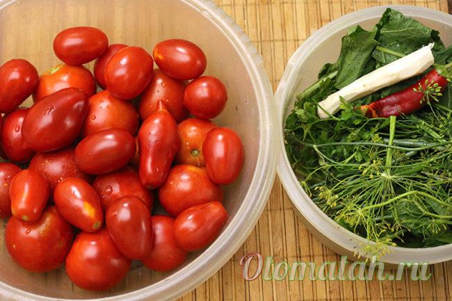 подготовка помидор и зелени
