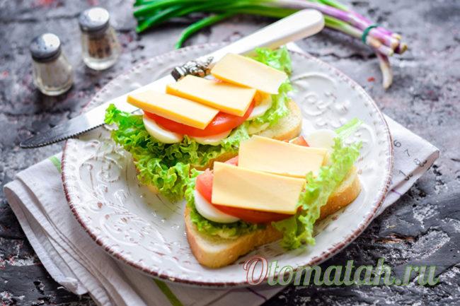 закуска из хлеба, помидор и сыра