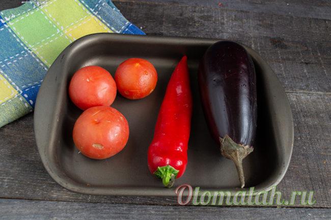 чистые овощи на противне