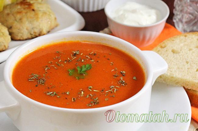 классический томатный суп пюре из свежих помидор