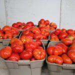красные помидоры в корзинках